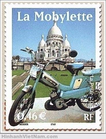 Hình xe Mobylette trên tem thư Cộng Hòa Pháp