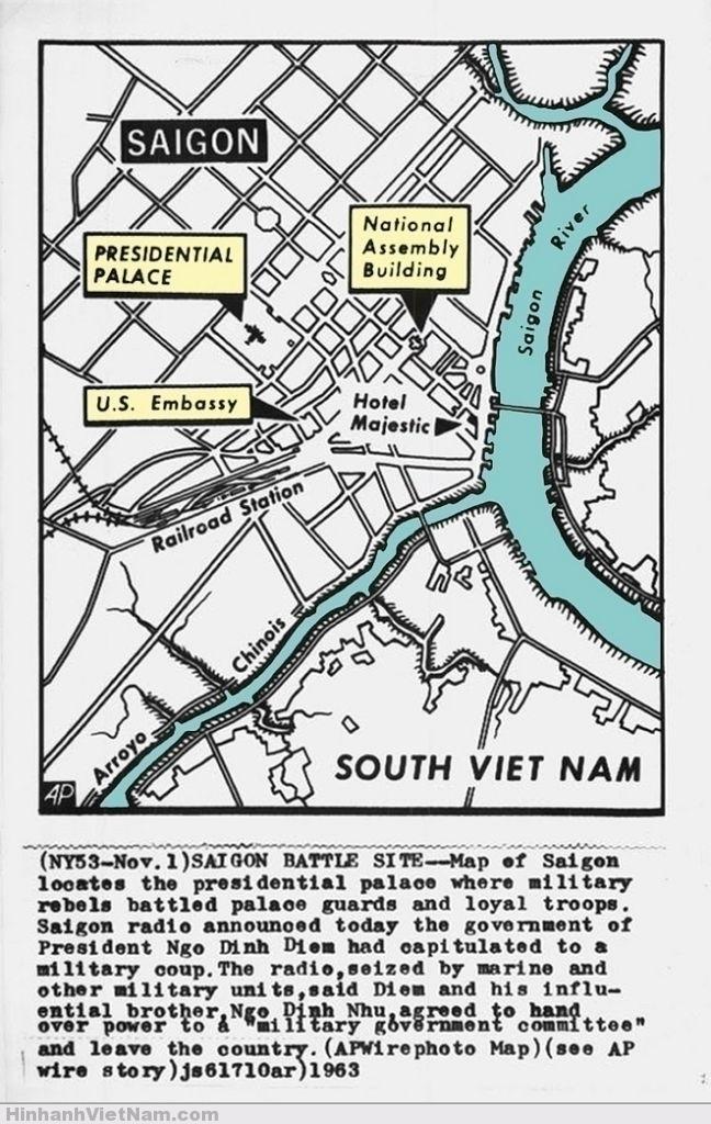 1963 SAIGON MAP - PRESS PHOTO