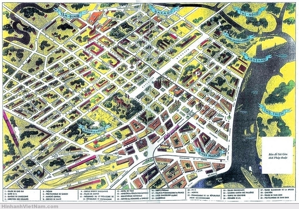 Bản đồ Sàigòn thời Pháp thuộc  Saigon Map during French colonial time
