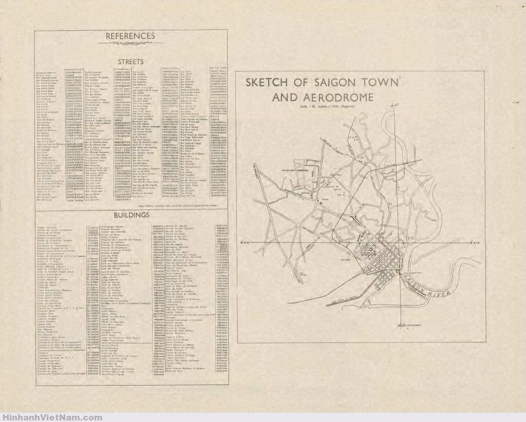 Bản đồ SAIGON 1946 (Mặt sau) . Kết thúc Đệ nhị thế chiến, quân đội Anh thuộc phe đồng minh được giao nhiệm vụ đến VN giải giáp quân Nhật từ Vĩ tuyến 16 trở xuống phía Nam, trong đó có TP Saigon. Có lẽ bản đồ này đã được Bộ chỉ huy quân đội Anh tại Miến Điện in ra nhằm phục vụ nhiệm vụ này.