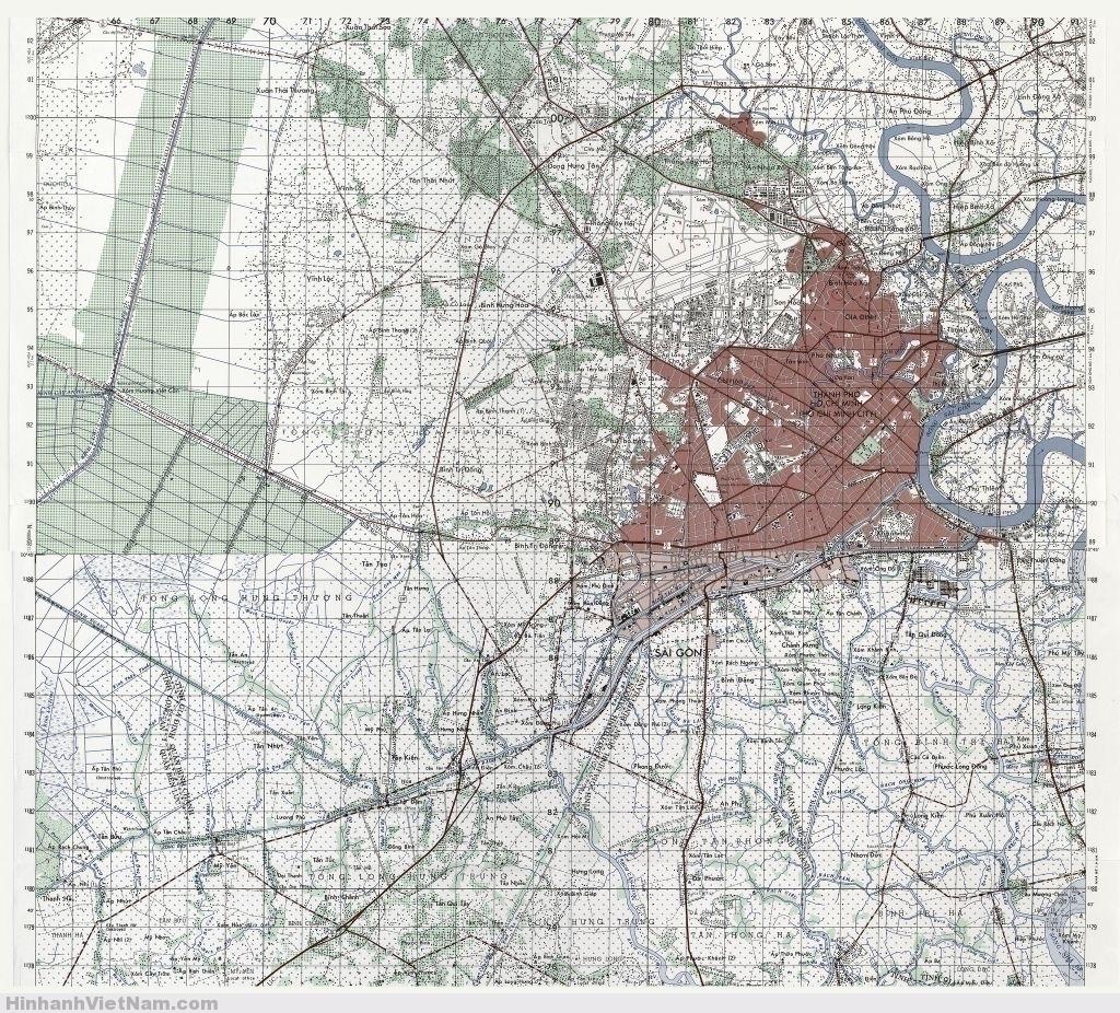 Bản đồ SAIGON (HCMC) 1984 Tỷ lệ 1/50.000
