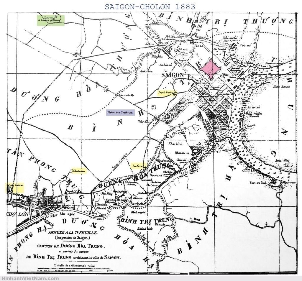 """Bản đồ Saigon 1883 với """"chiến tuyến các ngôi chùa"""" (lignes des pagodes) của Pháp năm 1861"""
