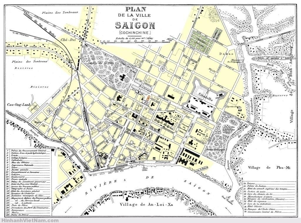 Bản đồ Saigon 1896 tô thêm màu