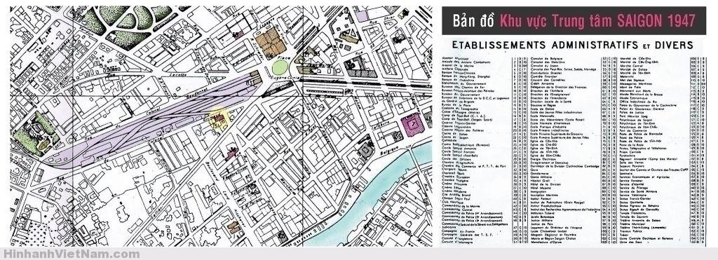 Bản đồ một phần trung tâm SAIGON 1947