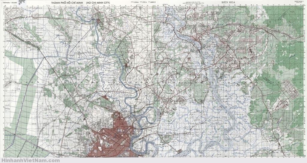 Ghép chung hai bản đồ SAIGON - BIÊN HÒA (Tỷ lệ 1/50.000)