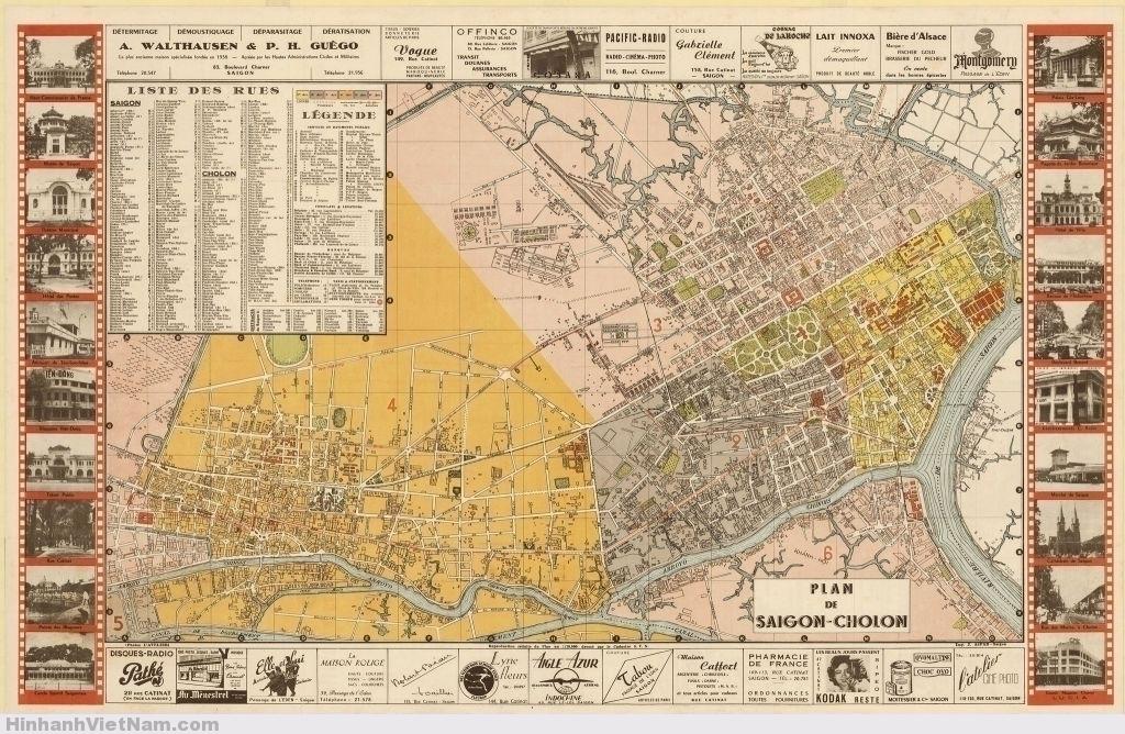 PLAN DE SAIGON-CHOLON - BẢN ĐỒ SAIGON-CHOLON (1952-1955)  Bản đồ này không ghi năm xuất bản, nhưng căn cứ vào tên con đường MARÉCHAL DE LATTRE DE TASSIGNY trên bản đồ thì suy ra bản đồ xuất bản trong khoảng 1952 đến 1955, vì trước 1952 đường Maréchal de Lattre de Tassigny còn là đường Général de Gaulle và trước 1945 là đường MAC MAHON; và sau 1955 thì được đổi tên thành đường CÔNG LÝ (hiện nay là đường NKKN, đoạn từ XVNT đến bến Chương Dương). Hai thành phố Saigon và Cholon khi này đã nhập chung lại và được gọi tên là thành phố Saigon-Cholon, được chia ra thành 6 quận tô các màu khác nhau trên bản đồ. Bản đồ có kích thước 35.6 x 58.5 cm.