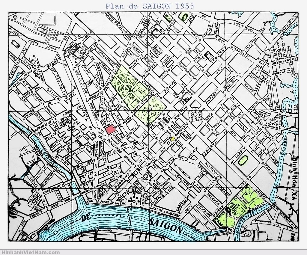 Plan de Saigon 1953. Ngày xưa nhiều bản đồ vẽ hướng Bắc nằm về bên phải, không hướng lên trên theo như quy ước ngày nay. Ai chưa quen sẽ thấy khó chịu vì phải ngảnh cổ để xem cho dễ, nhưng xem nhiều bản đồ như vậy rồi dần sẽ quen thuộc...
