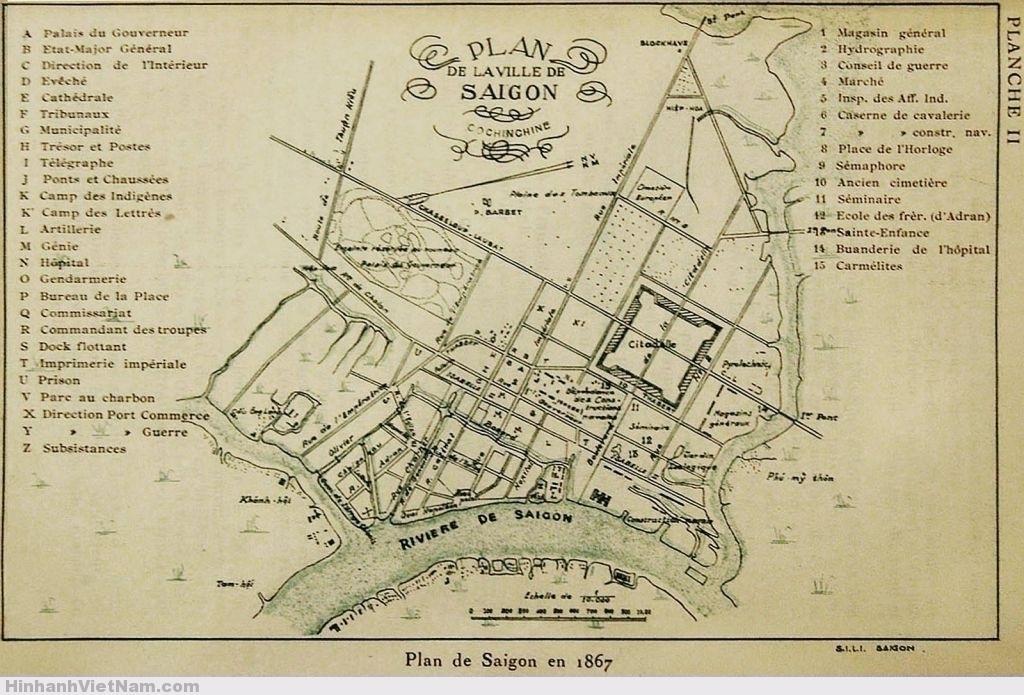 Plan de Saigon en 1867