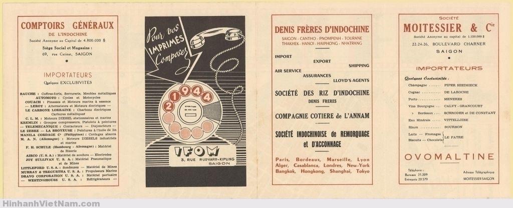 Quảng cáo mặt sau BẢN ĐỒ SAIGON 1952-1955
