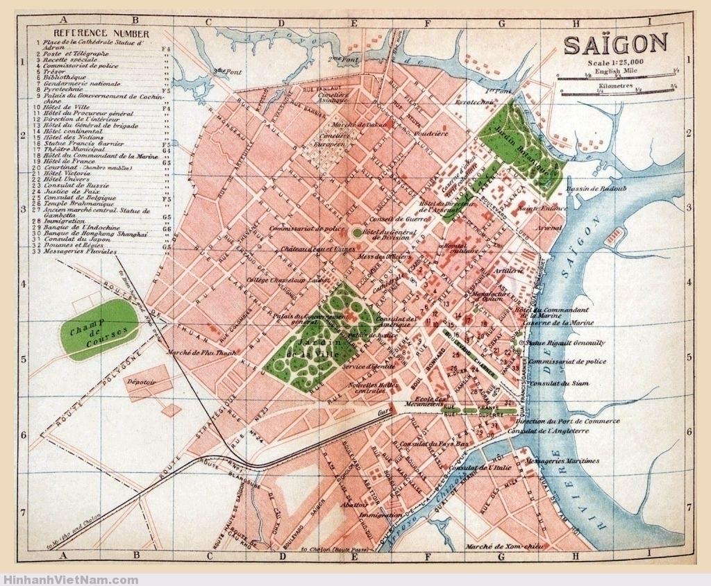 SAIGON MAP 1920. vị trí mấy công trình tại Saigon khoảng thập niên 1920