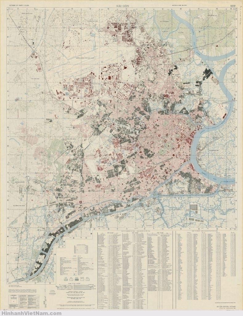 Bản đồ SAIGON 1968 Giúp định vị địa điểm những kiến trúc xưa