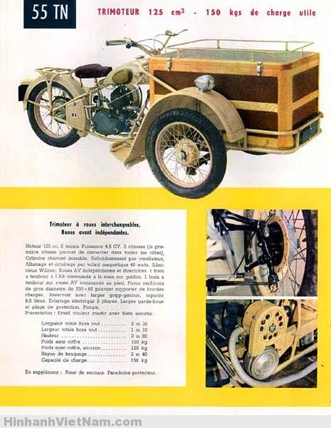 Kiểu xe Triporteur Peugeot 55TN sản xuất sau chiến tranh tại Pháp Quốc