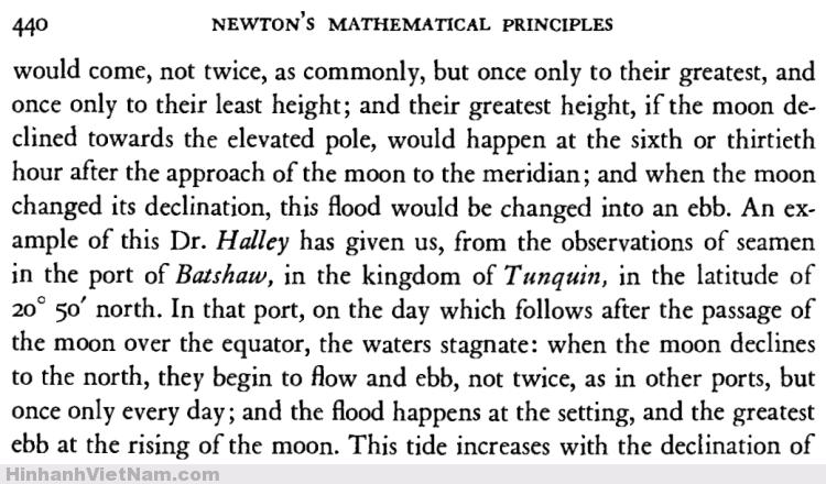 Newton đã nghiên cứu thuỷ triều ở vùng Vịnh Hạ Long