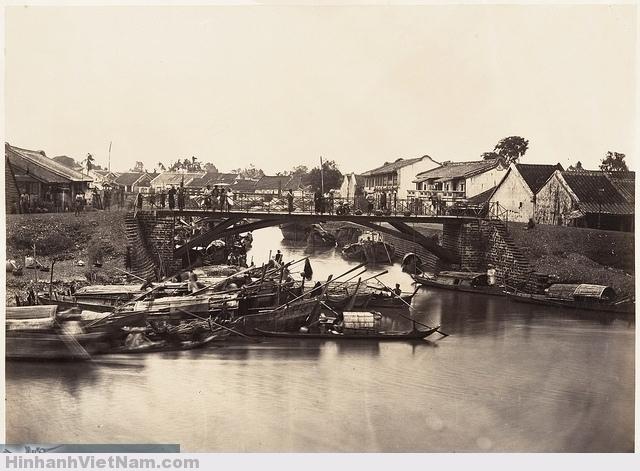 vị trí cây cầu này nay ở trên ĐL Đông Tây. Saigon, Cochinchine 1866 Chợ lớn xưa 3