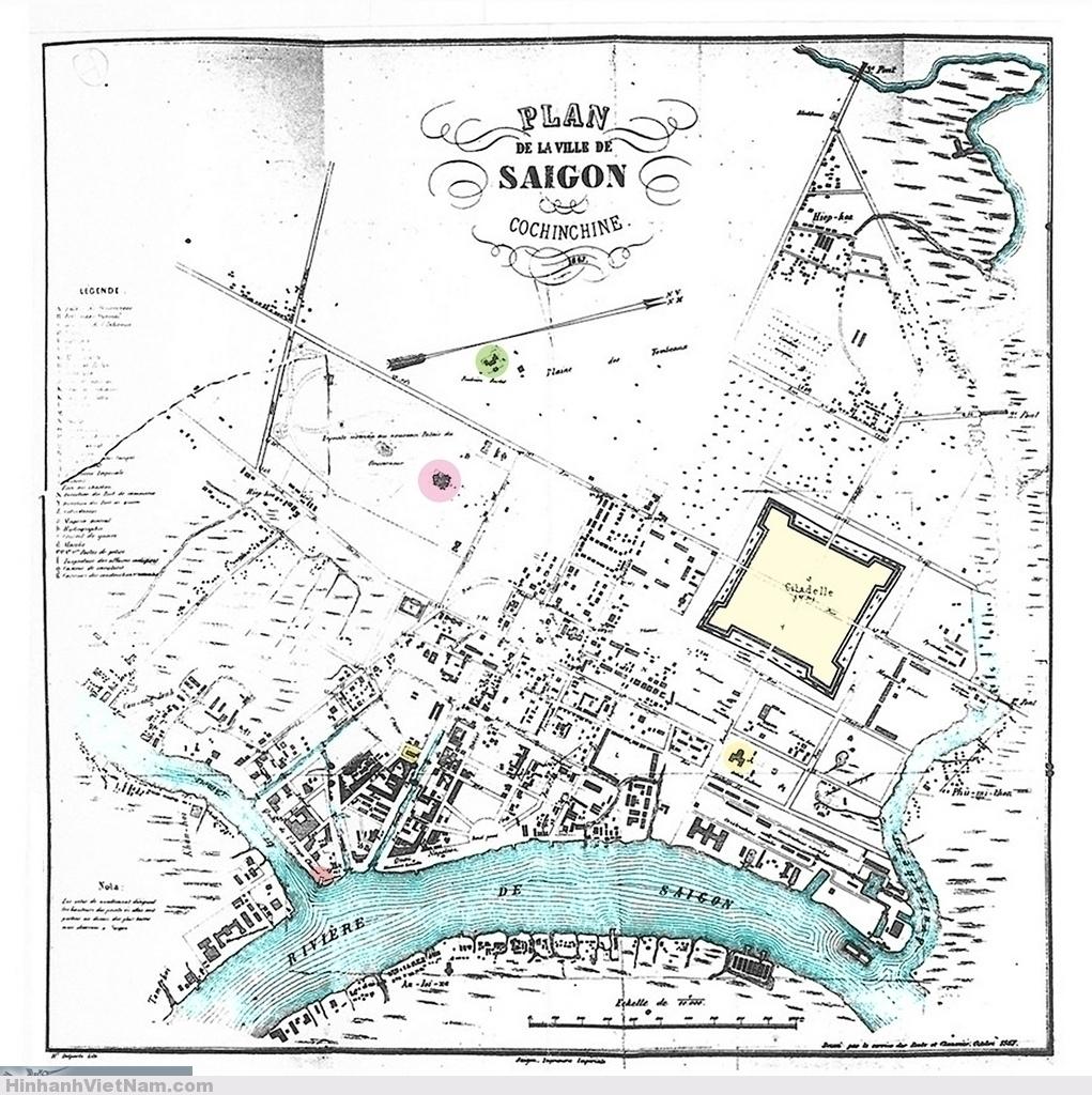 Bản đồ Saigon 1867, cùng khoảng thời gian với những bức hình của Emile Gsell (1866).. Plan de la ville de Saigon. Cochinchine 1867 Publisher: Imprimerie impériale. Dressée par le service des Ponts et Chaussées, octobre 1867