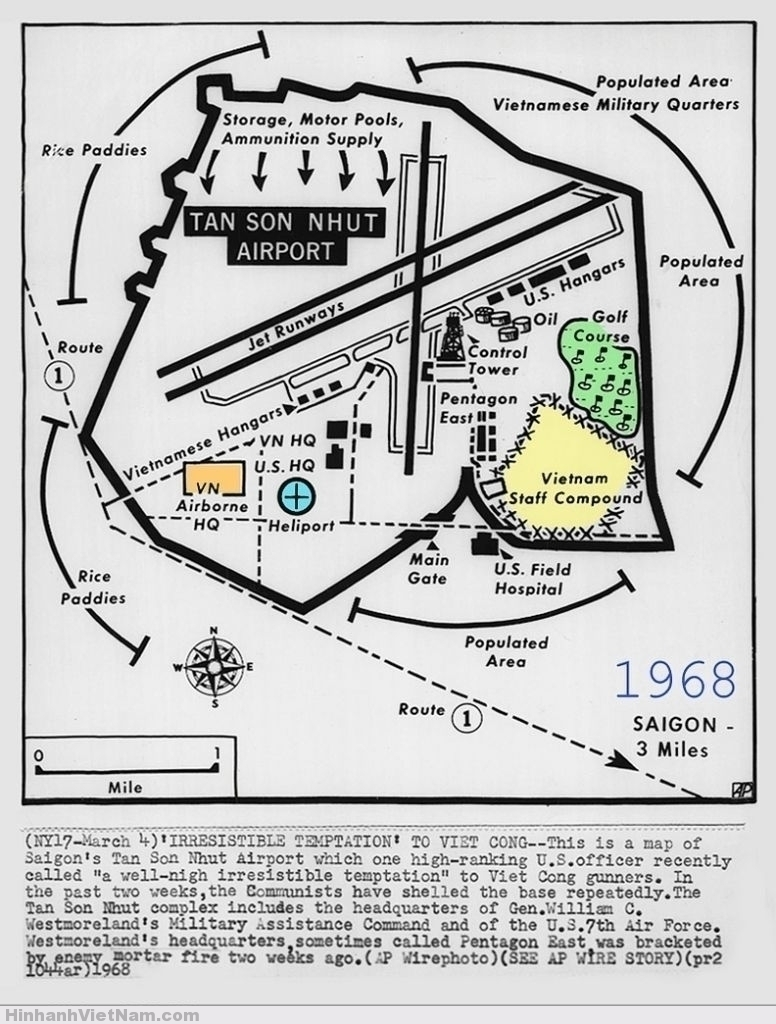 1968 Map of Saigon's Tan Son Nhut Airport