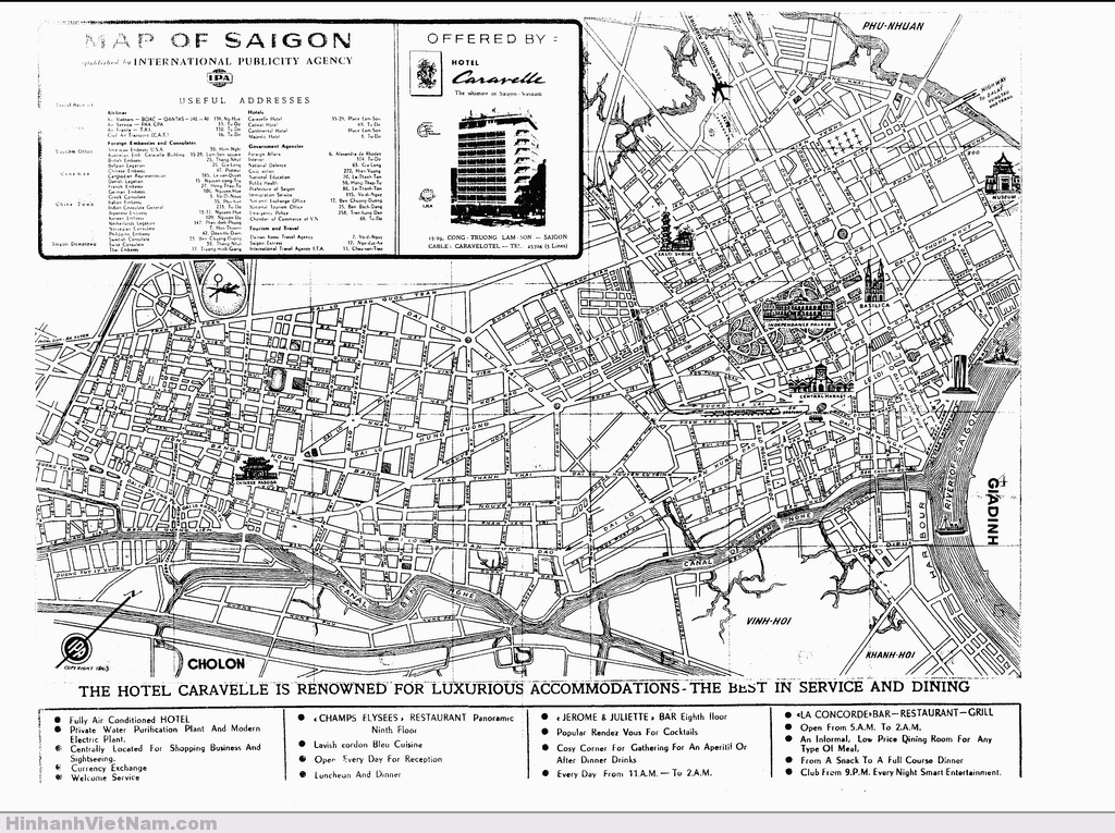 Map of Saigon in 1963, with useful addresses, offered by Hotel Caravelle