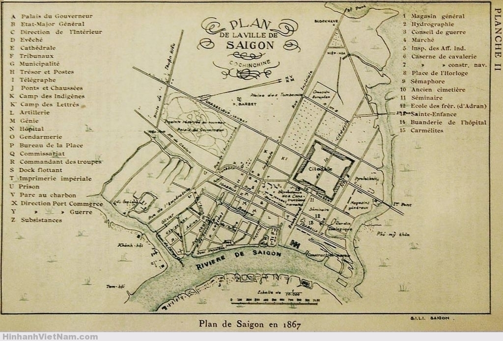 Plan de Saigon en 1867
