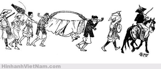 Quan đi võng có người đi trước đánh phèn la mở đường, ai chậm chân sẽ bị người ngồi trên ngựa quất roi. Phía sau có người mang theo lọng che khi quan hạ thổ, người khác mang theo đồ dùng riêng của quan như cau, trầu,.., và sau cùng có lính bảo vệ. (Hinh: BAVH)