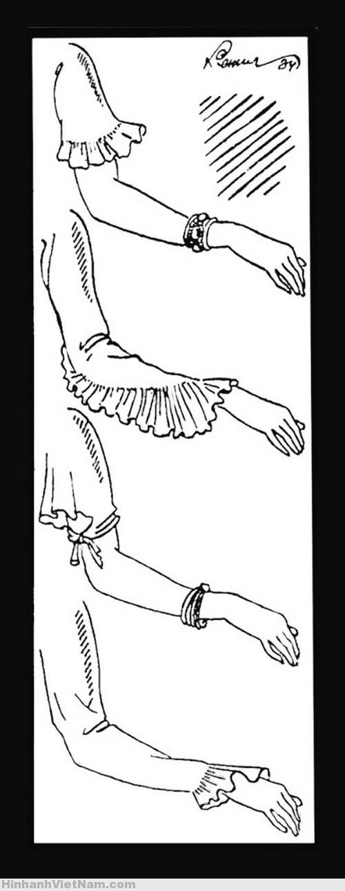 MỘT SỐ MẪU TAY ÁO CỦA ÁO DÀI LE MUR – VẼ BỞI HỌA SĨ CÁT TƯỜNG.(NGUỒN ẢNH: FACEBOOK CA DAO VÀ MẸ)